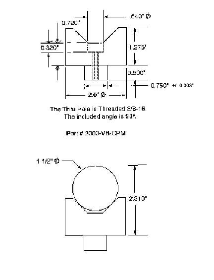 Cylrindrical Vee Block Drawing