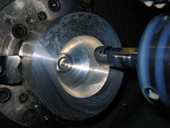 Machining of inside of hollow ball
