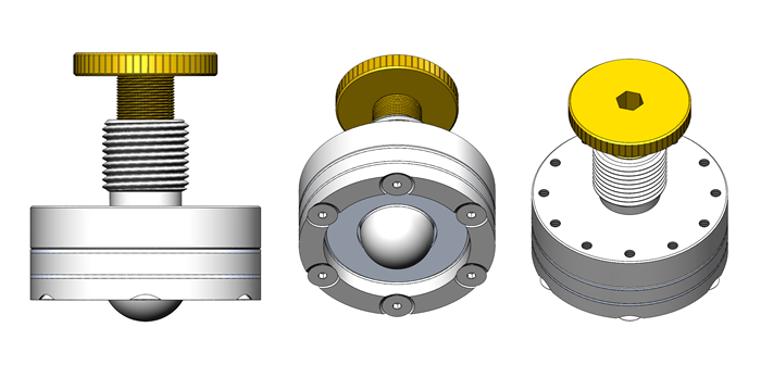 Adjustable Kinematic Coupling, three views